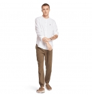 Chemise Homme Timberland LS Mill River Linen Korean Collar - Coupe Slim