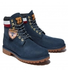 Boots Homme Timberland Heritage 6-inch WP Boot - Bleu marine nubuck et collier rouge
