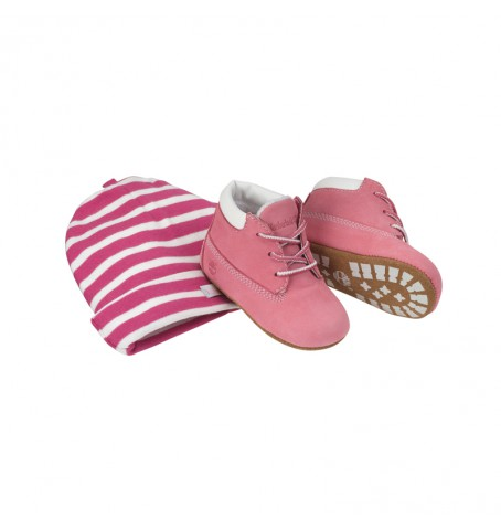 Coffret Bébé - Chaussons Timberland EK Crib Bootie With Hat - Rose