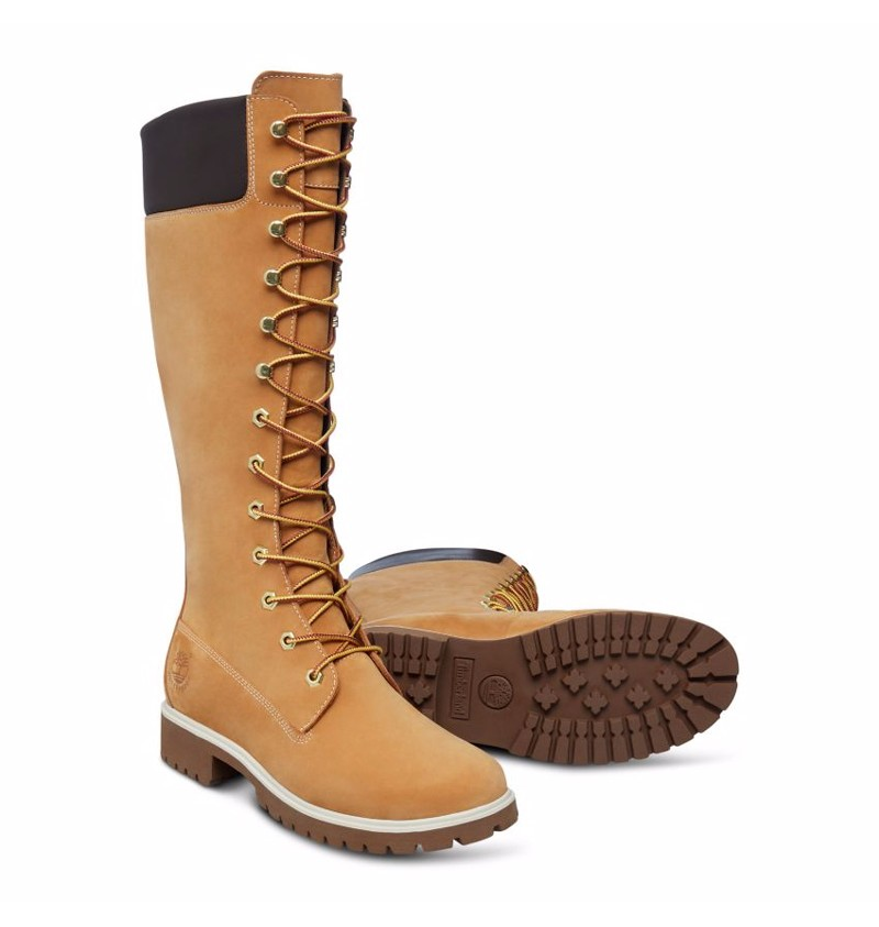Boots Femme Timberland Premium 14 inch Wheat Nubuck