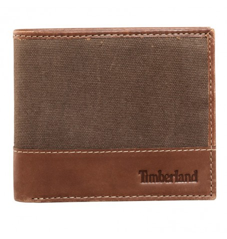 Timberland D9070 - Portefeuille Wax Canvas Passcase With Tree Logo And Leather Trim Homme