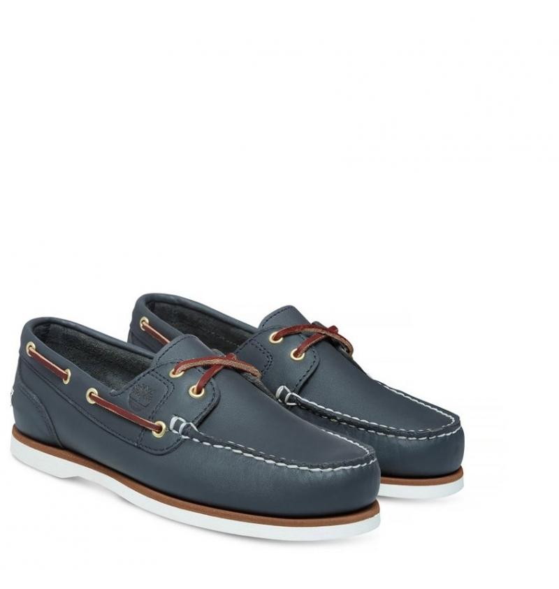 e2d384bcbf87b Chaussures Bateau Femme Timberland Classic Boat Amherst 2-Eye Boat Shoe -  Bleu marine