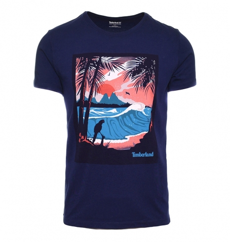 T-shirt Homme Timberland SS Kennebec River Vintage Style Postal Card - Coupe droite