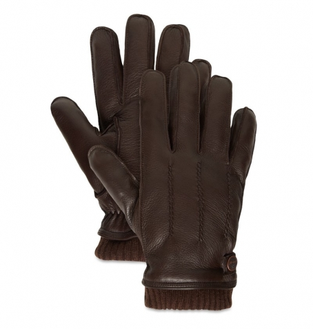 Gants Homme Timberland Deerskin With Knit Ribbed