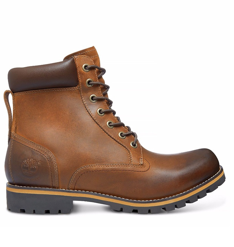 hommes timberland dark brown 6 inch rugged brown bottes